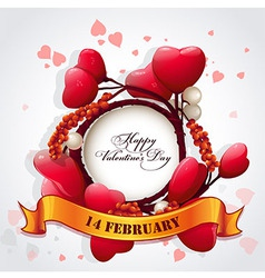 Card for Valentines Day with hearts and a festive vector image vector image