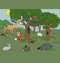 cartoon forest coloring vector image vector image