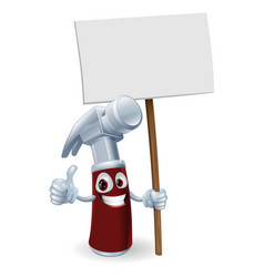 cartoon hammer with board sign vector image vector image