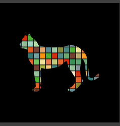 cheetah wildcat color silhouette animal vector image vector image