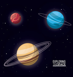 Colorful poster exploring the space with planets vector