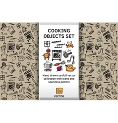 Cooking objects and wallpaper set vector image
