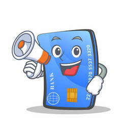 Credit card character cartoon with megaphone vector