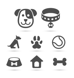 Cute dog icon symbol set on white vector image