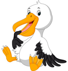 Cute pelican cartoon vector