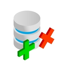 Database with green and red cross icon vector image vector image
