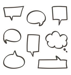 Doodle hand drawn speech bubbles set vector