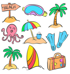 Element summer of doodle style vector