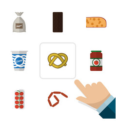 Flat icon eating set of bratwurst ketchup vector