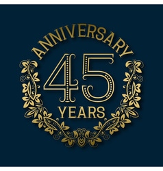 Golden emblem of forty fifth years anniversary vector image