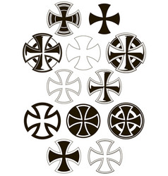 graphic cross icons set vector image