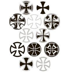 Graphic cross icons set vector