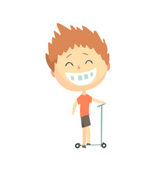 Happy smiling cartoon boy riding a kick scooter vector