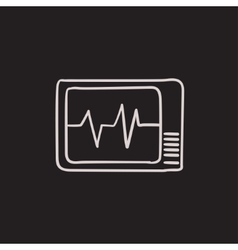 Heart monitor sketch icon vector image