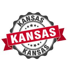 Kansas round ribbon seal vector