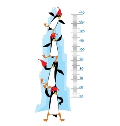 Meter wall with Funny penguins near the ice rock vector image vector image
