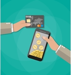 Mobile phone with gold coins inside and bank card vector