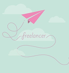 Paper plane as freelancer vector image vector image