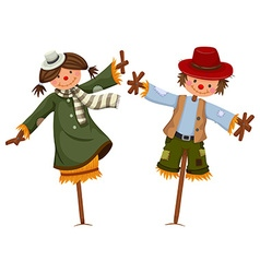 Scarecrows dressed like girl and boy vector image vector image