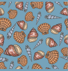 Seashell collection hand drawn aquatic doodle vector