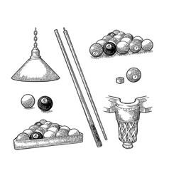 set billiard stick balls chalk pocket and lamp vector image vector image