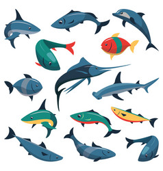 set of fish icons in flat style vector image vector image