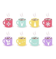 Set of mugs with cocoa marshmallow winter vector
