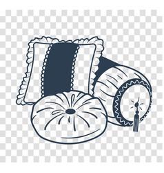 Silhouette cushion set icon vector