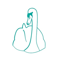 Sketch of hand drawn swan outline contour style vector image vector image