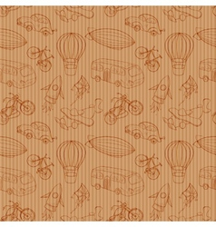 Sketches means of transport vintage seamless vector