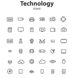Technology line icons vector