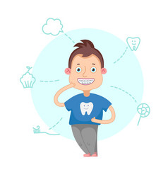 The boy with braces vector
