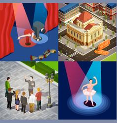 theatre 2x2 isometric set vector image vector image