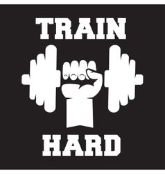 Train hard lettering vintage typographic poster vector