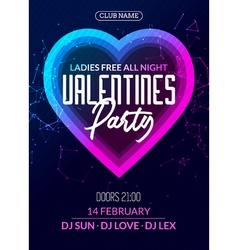 Valentine party poster or flyer design template vector