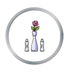Vase with flower icon in cartoon style isolated on vector image vector image