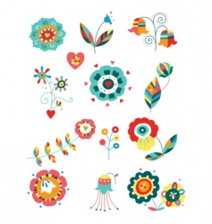 whimsical flowers vector image vector image