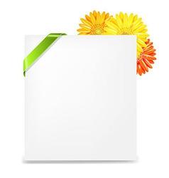 Yellow gerber and blank gift tag and ribbon vector