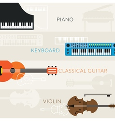Music instruments objects banner background vector