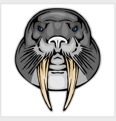 Walrus head mascot vector
