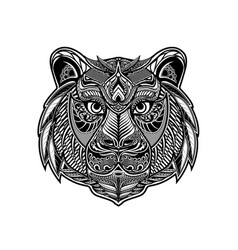zentangle tiger vector image