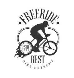 Freeride best bike extreme vintage label black vector
