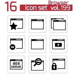 Black browser icons vector