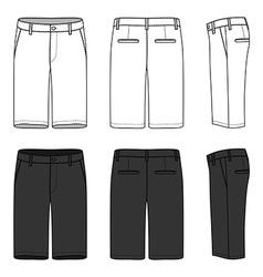Blank mens shorts vector