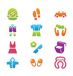 Clothing and trip icon set vector