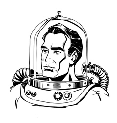 Retro astronaut line art vector