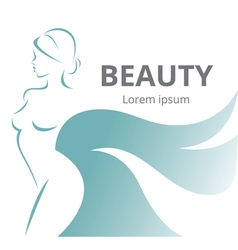 Abstract logo stylized beautiful woman in profile vector