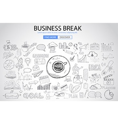 Business break concept with doodle design style vector