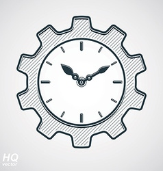 Retro cog wheel with clock vector