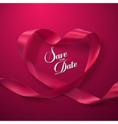 Save the date pink ribbon heart vector